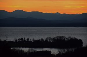 November sunset ambient light over Lake Champlain in Shelburne, Vermont.
